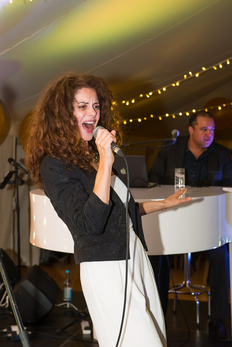 Female singer at a party