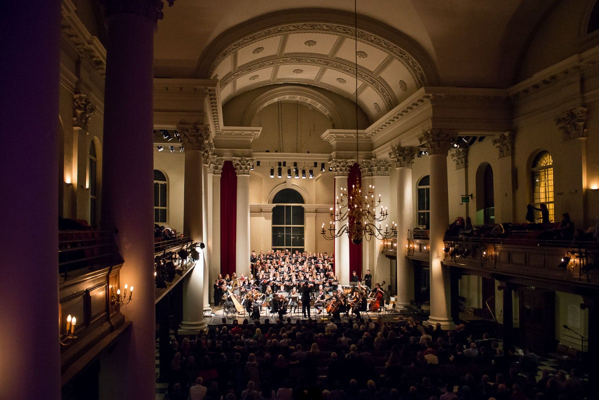 School choir and Orchestra performing at St John's, Smith Square, London