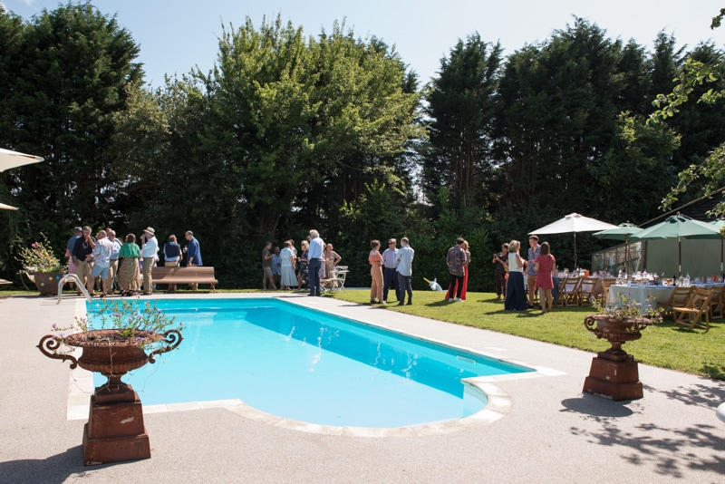 garden party with swimming pool