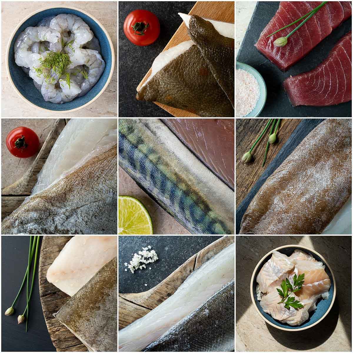 Montage of nine different fish images photographed as part of a food photography project for the Fresh Fish Shop in Haywards Heath
