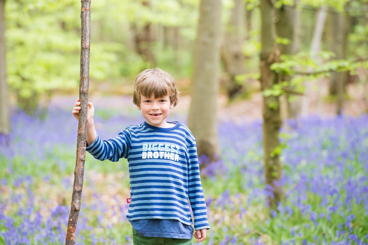 Young boy standing holding a stick in bluebell woods