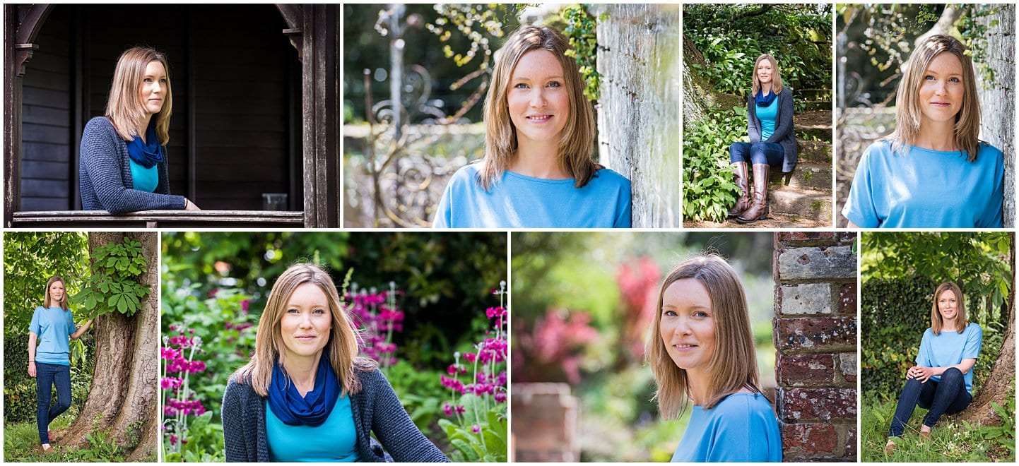 Selection of pictures of a young woman taken outside at Borde Hill garden