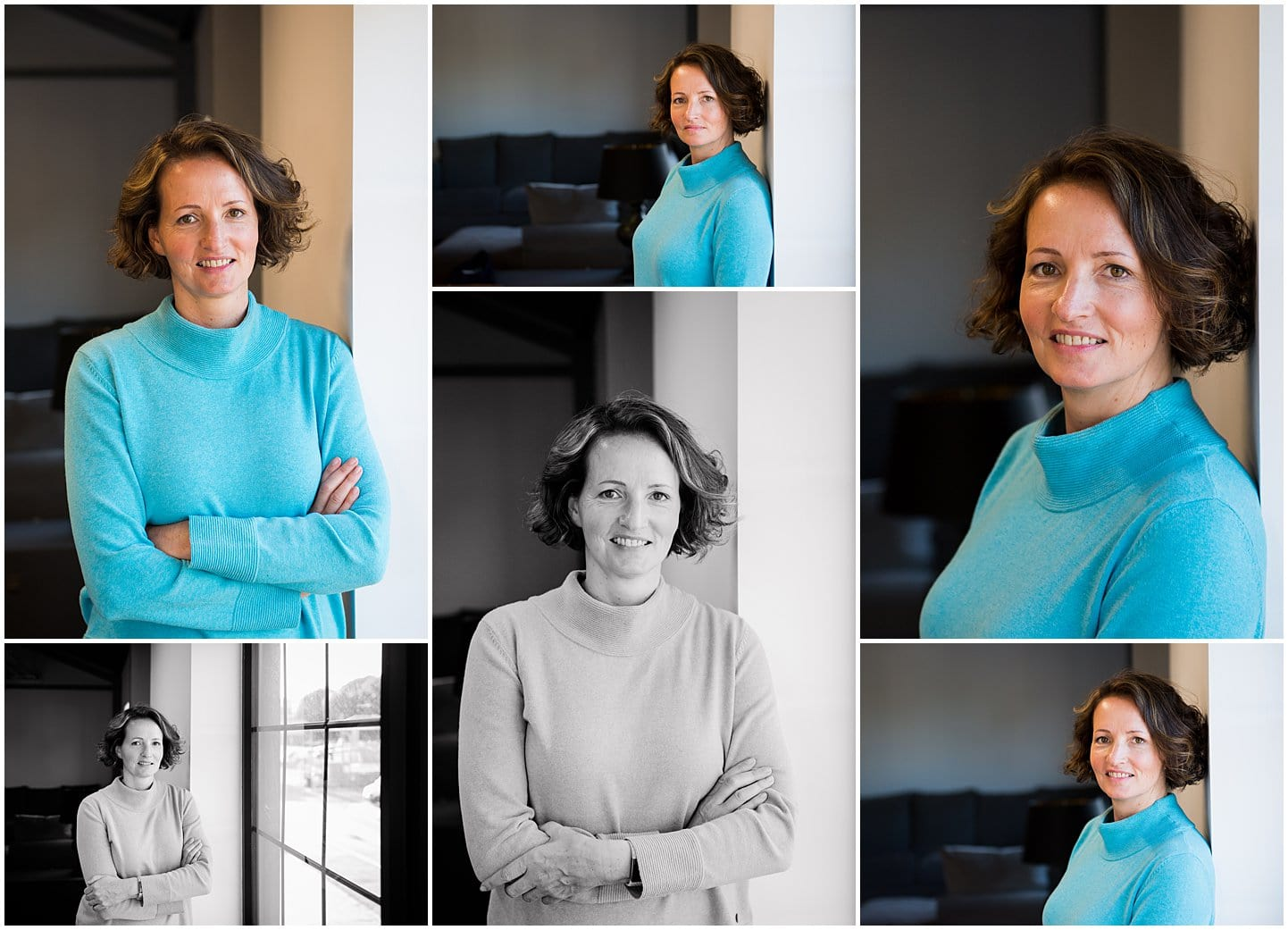 Professional headshots of woman wearing a turquoise blue jumper