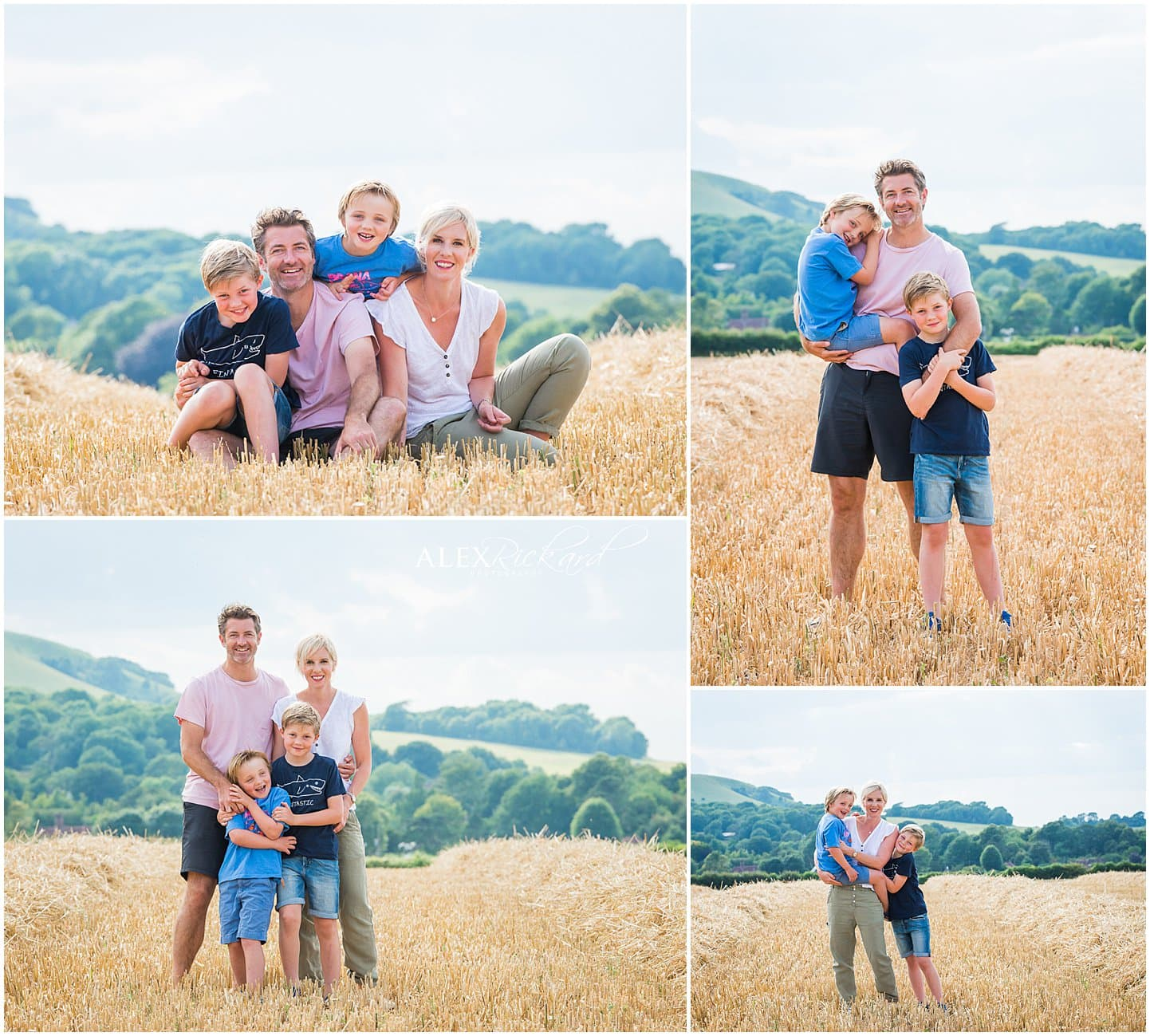 montage of pictures of a family in a cornfield