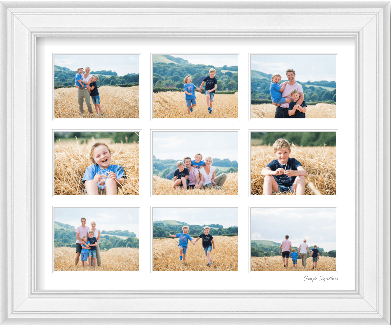 A framed montage of a family photoshoot in Ditchling